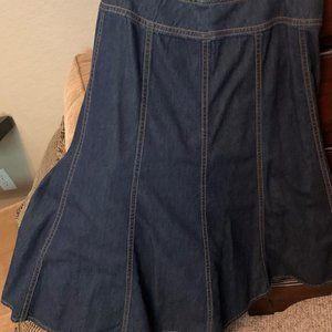 Gored Denim boot length skirt